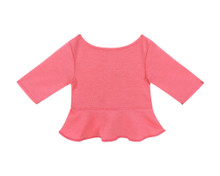 "Coral Long Sleeve Peplum Top  fits 18"" Dolls"