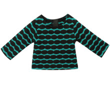 "18"" Black & Teal Striped Sweater fits American Girl 18 Inch Dolls"