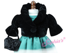 Black Velvet Cropped Jacket & Satin Purse Set fits American Girl