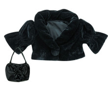 Sophia's Black Velvet Cropped Jacket & Satin Purse For 18 Inch Dolls