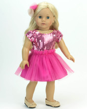 "Elegant  Hot Pink 18"" Doll Dress 2 Piece Set"
