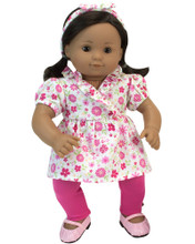 "Pink Floral Top, Leggings & Headband 3 Piece set fits 15"" Baby Dolls"