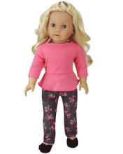 "Sophia's Floral Print Denim Jeans & Coral Peplum Top For 18"" Dolls"