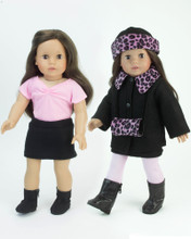 "Sophia's Hot Pink Animal Print Coat & Skirt Set Fits 18"" Dolls"