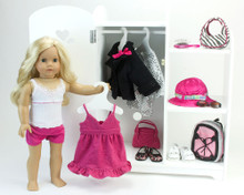 Mirrored Wardrobe, Hangers and Storage Unit for 18 Inch Dolls