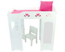 Loft Bed & Bedding with Desk and Mirrored Storage Unit for 18 Inch Dolls