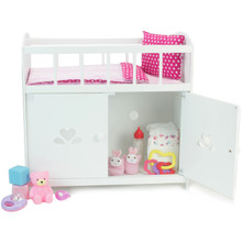 Baby Doll Crib and Storage Cabinet Ensemble fits Bitty Baby