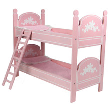 "Hand Painted Pink Bunk Bed with White Flowers fits 18"" Dolls"