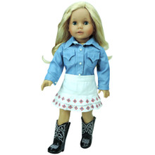 "Chambray Shirt & White Denim Skirt Fits 18"" Dolls"