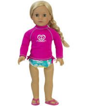 "18"" Doll Swim Suit 2 piece Set Hot Pink Rash Guard & Bikini Bottoms fits American Girl Doll SPECIAL SALE"
