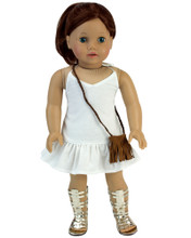 "White Spring 18"" Doll Dress & Fringe Purse fits American Doll Dresses"