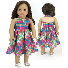"18"" Doll Plaid Halter Dress fits American Doll Summer Dresses"