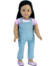 "18"" Doll 2 Pc. Pant Set Skinny Overalls & Baseball Tee"
