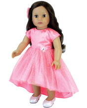 Coral Hi-Low Hem Dress for Special Events fits 18 Inch Dolls