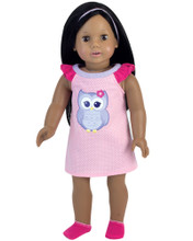 Owl Nightgown & Hairpiece 2 Piece Set fits 18 Inch Dolls