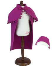 "18"" Doll Nordic Princess Magenta Cape & Hat 2 Piece Set"