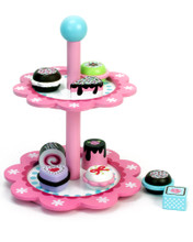 Children's Hand Painted 10 Piece Wooden Cupcake Stand Set for Children 5+