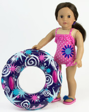Pink Polka Dot Bathing Suit & Swim Tube fits American Girl Bathing Suits