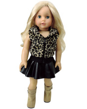 "Animal Print Vest & Black Leather Skirt fits 18"" American Girl 18 Inch Dolls"
