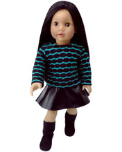 "Black Leather Skirt & Teal Patterned Sweater fits American Girl 18"" Dolls"