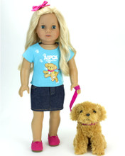 ASPCA® 2 Piece Skirt Set: Aqua Puppy Tee and Denim Skirt