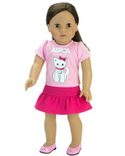 ASPCA® 2 Piece Skirt Set: Pink Kitten Tee and Hot Pink Ruffle Skirt