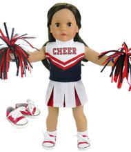4 Piece Complete Cheerleader Set Fits 18 Inch Dolls