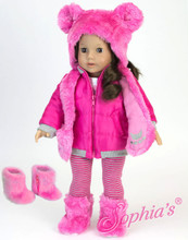 4 Piece Winter Coat and Hat Set fits 18 Inch American Girl Dolls