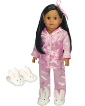3 Piece Pink Satin Pajama Set for 18 Inch Dolls
