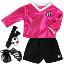5 Piece Set Complete Fuchsia Soccer Outift Fits 18 Inch Dolls