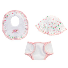 Baby Doll Hat, Bib and Diaper 3 Piece Set
