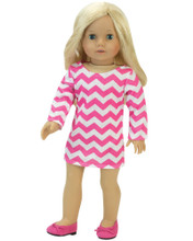 18 Inch Doll Dress in Hot Pink Chevron Design