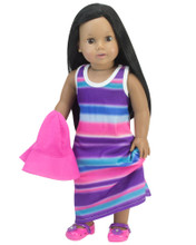 Maxi Dress for 18 Inch Dolls with Sun Hat