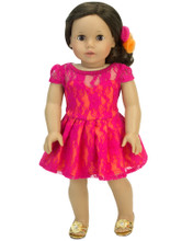 18 Inch Doll Dress with Lace Overlay  2 Piece Set