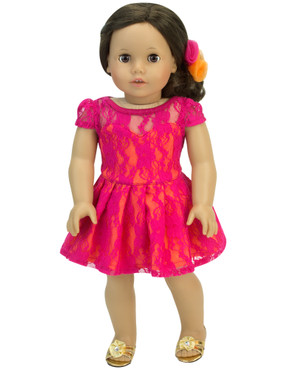 """Sophia's Dress with Lace Overlay Set For 18"""" Dolls"""