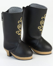 "Black Heeled Boots w/Nordic Design For 18"" Dolls"
