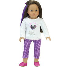 Pug Tee Shirt & Polka Dot Leggings 2 Piece Set fits American Girl