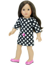 "Sophia's Black & White Circle Pattern Dress & Necklace For 18"" Dolls"
