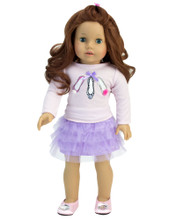 "Lavender Tulle Skirt & Graphic Tee Set fits 18"" Dolls"