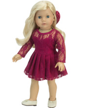 Sophia's Burgundy Lace Dress Set Fits 18 Inch Dolls