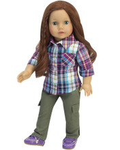 "18"" Olive Skinny Cargo Pants & Plaid Shirt Set fits American Girl"
