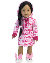 Pink Camouflage Hooded Nightgown and Hair Elastic Set fits American Girl