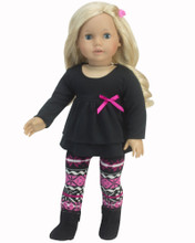 "Sophia's Pink Knit Leggings & Black Ruffle Top Set Fits 18"" Dolls"