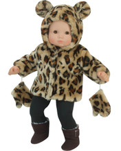 "15"" Baby Doll Hooded Animal Print Fur Jacket & Mittens fits Bitty Baby"