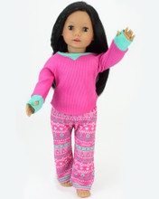 "18"" Doll Thermal PJ's Set fits American Girl Sleepwear"