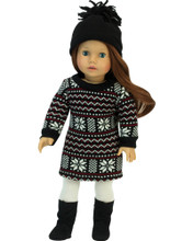 "Sophia's Fair Isle Knit Sweater Dress & Hat For 18"" Dolls"