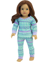 "Sophia's Teal & Lavendar Patterned Pajamas Set fits 18"" Dolls"