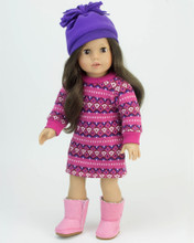 "Pink Fair Isle Knit Dress Set fits 18"" Dolls"