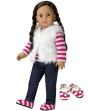 "18"" Doll Jeans, Fur Vest, Tee & Shoes 4 Piece Pants Set fits American Girl"
