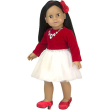 "Red Velvet & Ivory Chiffon Jeweled 18"" Doll Dress Fits American Girl Dresses"